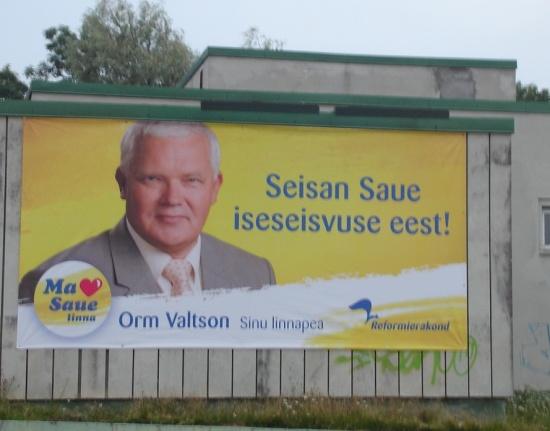 Orm Valtson 2009. kohalike valimiste plakatil. Teda ei valitud tagasi. Foto valimised2009.wordpress.com