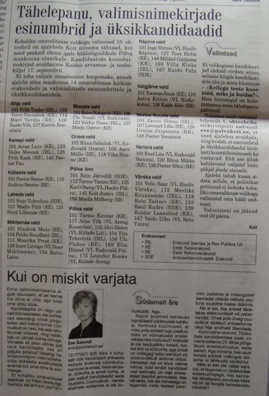 ajaleht koit valimiste esinumbrid reeglid