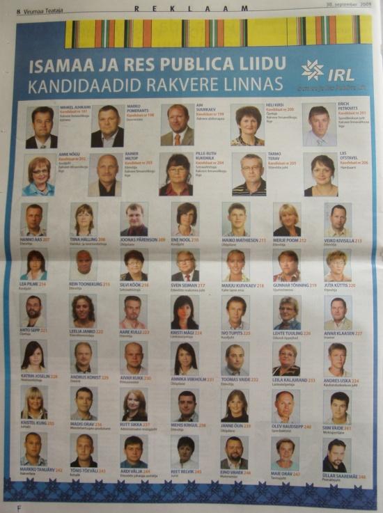 Virumaa Teataja IRL suur valimiste nimekiri rakvere linn